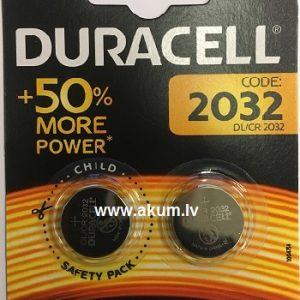 Duracell Lithium CR2032-BP2 button cell 3V (iepak 2 gab.)