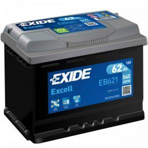 EXIDE EXCELL-EB621 12V-62Ah / EN 540A / L242 / W175 / H190 Akumulators (pole code 1 +/-)