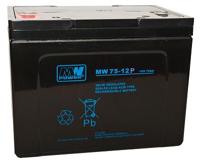 MW 75-12h MWPower battery / AGM / 12V-75Ah / terminal M6 / L260 W170 H205 mm