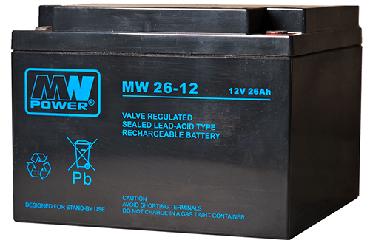 MW 26-12 MWPower battery / AGM / 12V-26Ah / terminal M5 / L166 W175 H125 mm