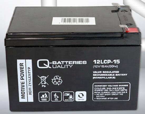12LCP-15 12V 15Ah/C20 (term. F2) — Q-BATTERIES AGM (VRLA) Deep cycle battery L151 W98 H105