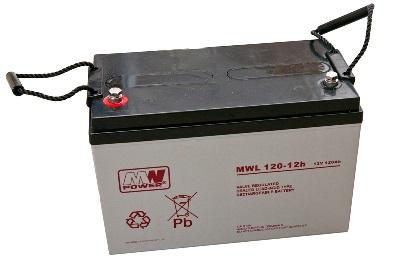 MWL120-12h MWPower battery / AGM / 12V-120Ah / terminal M8 / L330 W175 H220 mm
