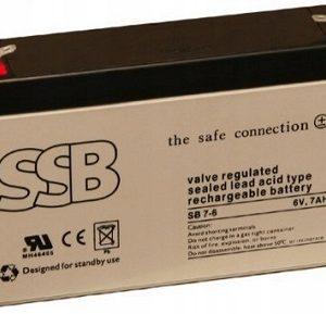 SB 7-6_SSB akumulators / AGM / 7Ah-6V / terminal T1-4.8 mm / L151 W34 H94