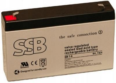 SB 7-6_SSB akumulators / AGM / 6V-7Ah/C20 / terminal T1-4.8 mm / L151 W34 H94