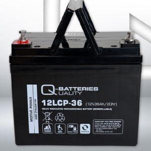 12LCP-36 12V 36Ah/C20 (term. F11 M6) — Q-BATTERIES AGM (VRLA) Deep cycle battery L195 W130 H165
