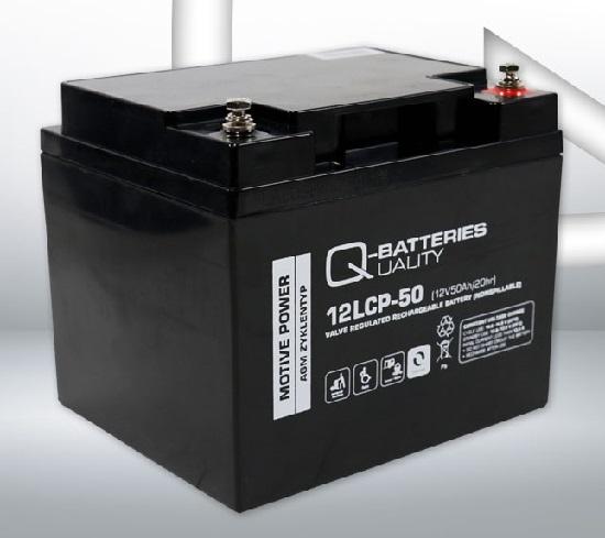 12LCP-50 12V 50Ah/C20 (term. F11 M6) — Q-BATTERIES AGM (VRLA) Deep cycle battery L198 W166 H171