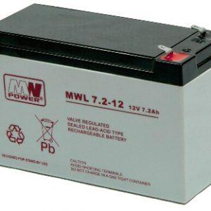 MWL7.2-12/MWL7.2-12L MWPower battery / AGM / 7.2V-12Ah / terminal T1-4.8 / T2-6.3 mm / L151 W65 H100 mm