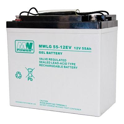 MWLG 55-12EV MWPower battery / GEL / 12V-50Ah / terminal M6 / L230 W138 H213 mm