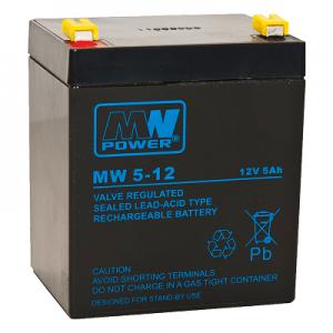 MW 5-12L MWPower battery / AGM / 12V-5Ah / terminal T2-6.3 mm / L90 W70 H101 mm