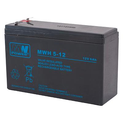 MWH 5-12L MWPower battery / AGM / 12V-6Ah 213W-10 min / terminal T2-6.3mm / L151 W50 H95 mm