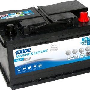 EXIDE-EP600 AGM MARINE&LEISURE StartStop 12V-70Ah / EN 760A / L280 / W175 / H190 Akumulators (-/+)