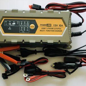 POWERLINE 12V-10A Automatic Charger for Lead-Acid, GEL, AGM, Lthium LiFePO4 battery (lādētājs)