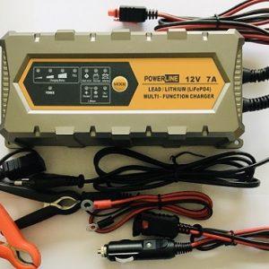 POWERLINE 12V-7A Automatic Charger for Lead-Acid, GEL, AGM, Lthium LiFePO4 battery (lādētājs)