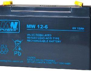 MW12-6 MWPower battery / AGM / 6V-12Ah / terminal T1-4.8/T2-6.3 mm / L151 W55 H94 mm