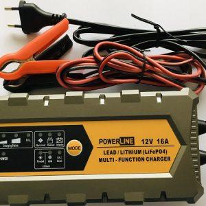 POWERLINE 12V-16A Automatic Charger for Lead-Acid, GEL, AGM, Lthium LiFePO4 battery (lādētājs)