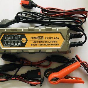 POWERLINE 6V & 12V-4,5A Automatic Charger for Lead-Acid, GEL, AGM, Lthium LiFePO4 battery (lādētājs)
